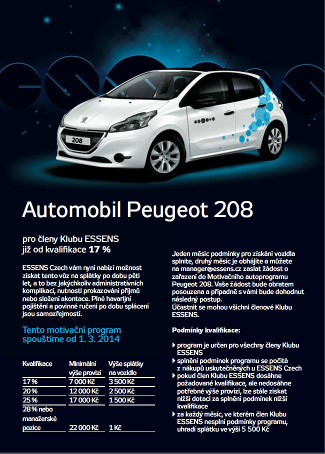 Essens autoprogram - Peuegot 208 - Essens Czech -parfémy, kosmetila,aloe vera, colostrum